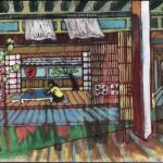 Intérieur japonais peinture figurative contemporaine