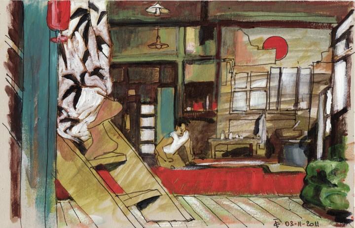 Intérieur japonais croquis peinture figurative contemporaine