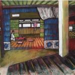Intérieur japonais OZU peinture figurative contemporaine perspective