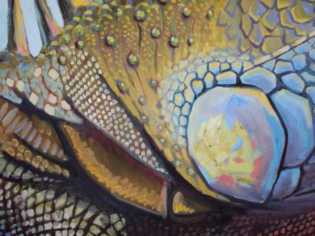 iguane peinture huile