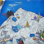 Bleu Lettre inspiration méditation mansarde forme-pensée encrier peinture figurative hokusai