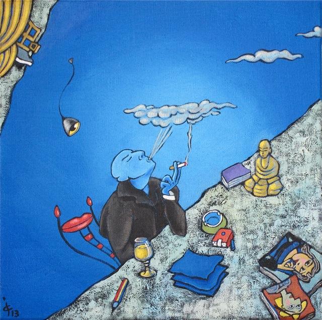 Bleu Lettre inspiration méditation mansarde forme-pensée encrier peinture figurative Picasso artiste cigarette bière