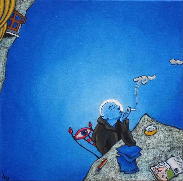 Bleu Lettre inspiration méditation mansarde forme-pensée encrier peinture figurative