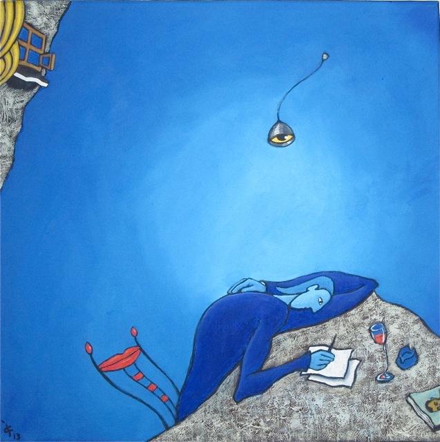 Chagall Bleu Lettre inspiration méditation mansarde forme-pensée encrier peinture figurative
