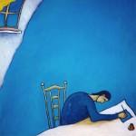 Bleu Lettre inspiration méditation mansarde encrier peinture figurative