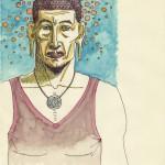 Bouddha méditation porte chemin lotus aquarelle portrait