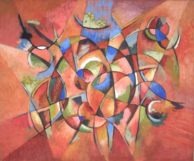 damier méditation mandala peinture abstraite rouge
