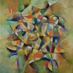 damier méditation mandala peinture abstraite verte cubisme
